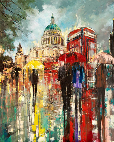 'Summer Stroll at St.Paul's' Original Oil Painting on Canvas Ready to Hang - Eva Czarniecka Umbrella Oil paintings Rain London Streets Pallets Knife Limited Edition Prints Impressionism Art Contemporary
