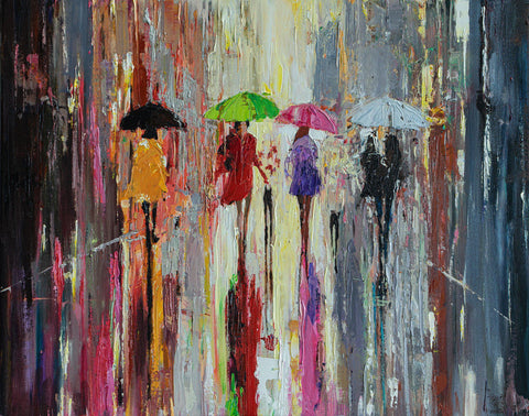'OUT IN THE RAIN' Limited Edition Print Ready To Hang - Eva Czarniecka Umbrella Oil paintings Rain London Streets Pallets Knife Limited Edition Prints Impressionism Art Contemporary