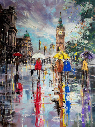 'Early September' Original Oil Painting on Canvas Ready to Hang - Eva Czarniecka Umbrella Oil paintings Rain London Streets Pallets Knife Limited Edition Prints Impressionism Art Contemporary