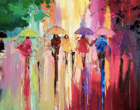 'Rainbow Shower in Hyde Park' Original Oil Painting on Canvas Ready to Hang