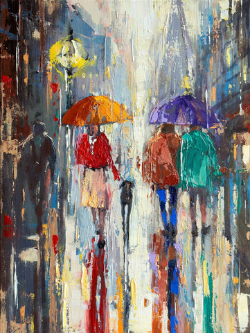 'RAINY NOVEMBER IN LONDON' Original Oil Painting on Canvas Ready to Hang - Eva Czarniecka Umbrella Oil paintings Rain London Streets Pallets Knife Limited Edition Prints Impressionism Art Contemporary