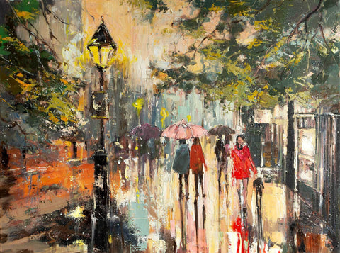 'Winter Stroll in Hyde Park' Original Oil Painting on Canvas Ready to Hang - Eva Czarniecka Umbrella Oil paintings Rain London Streets Pallets Knife Limited Edition Prints Impressionism Art Contemporary