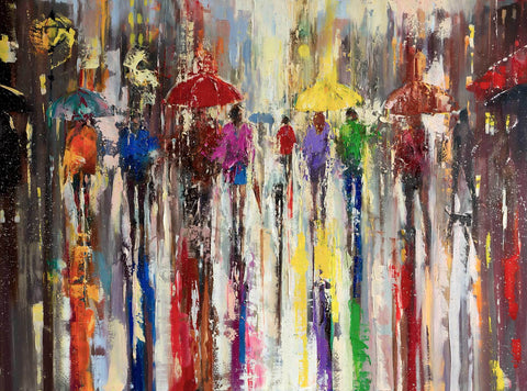 'Afternoon in City Of Rain' Original Oil Painting on Canvas Ready to Hang - Eva Czarniecka Umbrella Oil paintings Rain London Streets Pallets Knife Limited Edition Prints Impressionism Art Contemporary