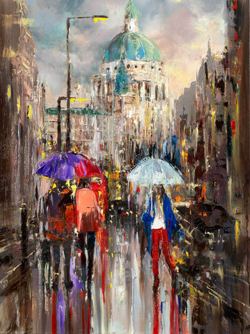 'Autumn Walk in St.Pauls'  Oil Painting on Canvas Ready to Hang - Eva Czarniecka Umbrella Oil paintings Rain London Streets Pallets Knife Limited Edition Prints Impressionism Art Contemporary