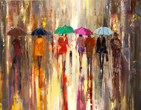 'In Autumn Rain'  Oil Painting on Canvas Ready to Hang - Eva Czarniecka Umbrella Oil paintings Rain London Streets Pallets Knife Limited Edition Prints Impressionism Art Contemporary