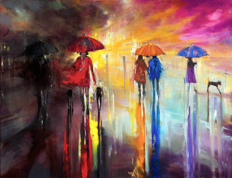 'Saturday Night Walks' Original Oil Painting on Canvas Ready to Hang - Eva Czarniecka Umbrella Oil paintings Rain London Streets Pallets Knife Limited Edition Prints Impressionism Art Contemporary
