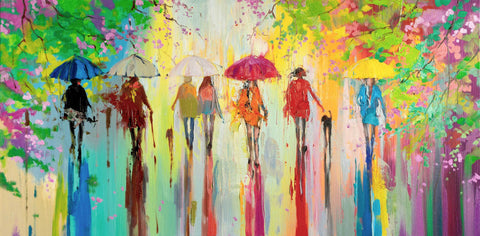 'Sunny Day in Hyde Park II' Oil Painting on Canvas Ready to Hang - Eva Czarniecka Umbrella Oil paintings Rain London Streets Pallets Knife Limited Edition Prints Impressionism Art Contemporary