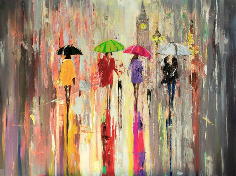 Reserved Oil Painting on Canvas Ready to Hang - Eva Czarniecka Umbrella Oil paintings Rain London Streets Pallets Knife Limited Edition Prints Impressionism Art Contemporary