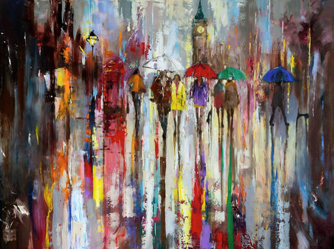 'A Rainy Day Out' Oil Painting on Canvas Ready to Hang - Eva Czarniecka Umbrella Oil paintings Rain London Streets Pallets Knife Limited Edition Prints Impressionism Art Contemporary