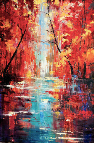 'Autumn River' Original Oil Painting on Canvas Ready to Hang - Eva Czarniecka Umbrella Oil paintings Rain London Streets Pallets Knife Limited Edition Prints Impressionism Art Contemporary