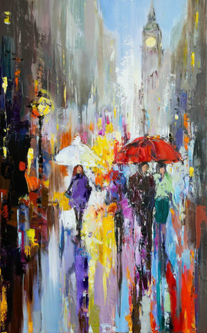 'Rain City' Oil Painting on Canvas Ready to Hang - Eva Czarniecka Umbrella Oil paintings Rain London Streets Pallets Knife Limited Edition Prints Impressionism Art Contemporary