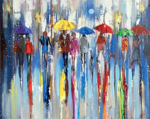 'Moon At Night In The City Of Rain' Oil Painting on Canvas Ready to Hang - Eva Czarniecka Umbrella Oil paintings Rain London Streets Pallets Knife Limited Edition Prints Impressionism Art Contemporary