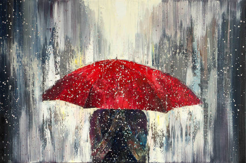 'Red Umbrella Rain'  Oil Painting on Canvas Ready to Hang - Eva Czarniecka Umbrella Oil paintings Rain London Streets Pallets Knife Limited Edition Prints Impressionism Art Contemporary