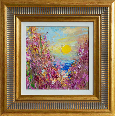 'Springtime' Framed Original Oil Painting - Eva Czarniecka Umbrella Oil paintings Rain London Streets Pallets Knife Limited Edition Prints Impressionism Art Contemporary