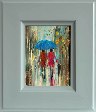 'Rainy Day Two' Oil Painting on Canvas Ready to Hang - Eva Czarniecka Umbrella Oil paintings Rain London Streets Pallets Knife Limited Edition Prints Impressionism Art Contemporary
