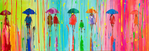 'Invitation for Spring' Acrylic Painting on Canvas Ready to Hang - Eva Czarniecka Umbrella Oil paintings Rain London Streets Pallets Knife Limited Edition Prints Impressionism Art Contemporary