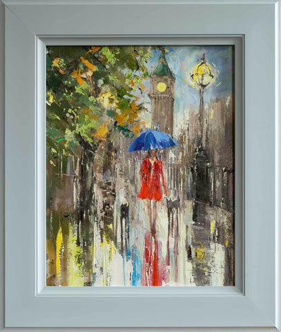 'London Spring' Framed Oil Painting on Canvas Ready to Hang - Eva Czarniecka Umbrella Oil paintings Rain London Streets Pallets Knife Limited Edition Prints Impressionism Art Contemporary