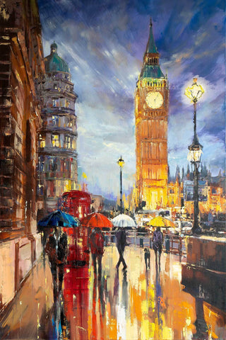 'Big Ben' Oil Painting on Canvas Ready to Hang - Eva Czarniecka Umbrella Oil paintings Rain London Streets Pallets Knife Limited Edition Prints Impressionism Art Contemporary