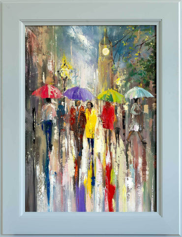 'Memories of London' Framed Oil Painting on Canvas Ready to Hang - Eva Czarniecka Umbrella Oil paintings Rain London Streets Pallets Knife Limited Edition Prints Impressionism Art Contemporary