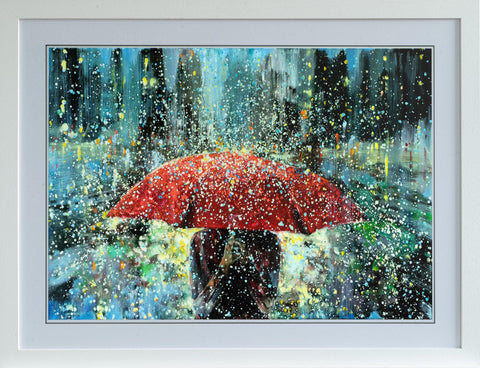 'Red Umbrella' Laminated Giclee Print Framed Ready To Hang - Eva Czarniecka Umbrella Oil paintings Rain London Streets Pallets Knife Limited Edition Prints Impressionism Art Contemporary