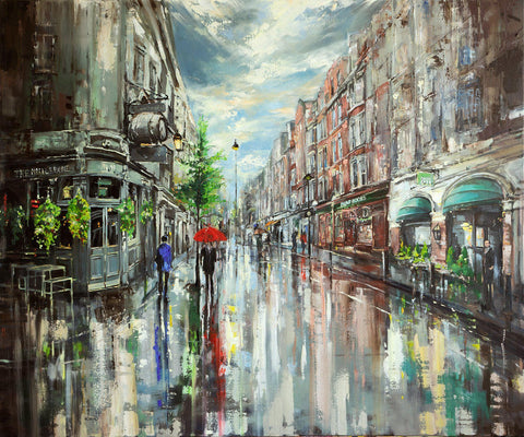 Commission for Rob - Eva Czarniecka Umbrella Oil paintings Rain London Streets Pallets Knife Limited Edition Prints Impressionism Art Contemporary
