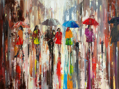 'Summer Rain' Original Oil Painting on Canvas - Eva Czarniecka Umbrella Oil paintings Rain London Streets Pallets Knife Limited Edition Prints Impressionism Art Contemporary