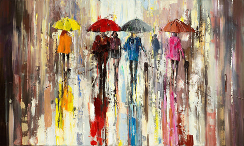 'City Escape' Oil Painting on Canvas - Eva Czarniecka Umbrella Oil paintings Rain London Streets Pallets Knife Limited Edition Prints Impressionism Art Contemporary