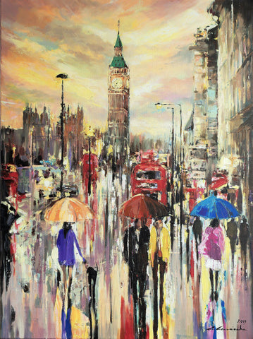 'London City Rush'  Original Oil Painting on Canvas - Eva Czarniecka Umbrella Oil paintings Rain London Streets Pallets Knife Limited Edition Prints Impressionism Art Contemporary