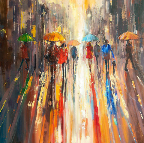 'August Evening Glow' Oil Painting on Canvas - Eva Czarniecka Umbrella Oil paintings Rain London Streets Pallets Knife Limited Edition Prints Impressionism Art Contemporary