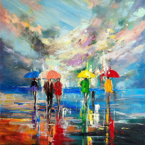 'Cloud Burst' Oil Painting on Canvas - Eva Czarniecka Umbrella Oil paintings Rain London Streets Pallets Knife Limited Edition Prints Impressionism Art Contemporary