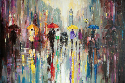 Commission for Mr Ravi (Reserved) - Eva Czarniecka Umbrella Oil paintings Rain London Streets Pallets Knife Limited Edition Prints Impressionism Art Contemporary