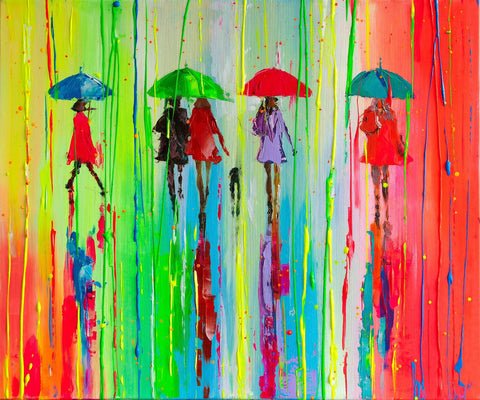 'Explosion' Acrylic Painting on Canvas - Eva Czarniecka Umbrella Oil paintings Rain London Streets Pallets Knife Limited Edition Prints Impressionism Art Contemporary