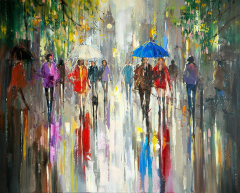 'Rainy Autumn in London' Oil Painting on Canvas - Eva Czarniecka Umbrella Oil paintings Rain London Streets Pallets Knife Limited Edition Prints Impressionism Art Contemporary
