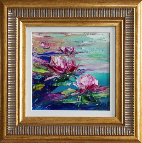 'Summer Pond Lilies'  Framed Oil Painting on Canvas