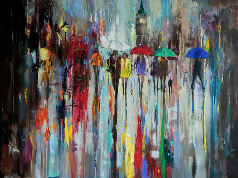 'London In Rain' Oil Painting on Canvas Ready to Hang - Eva Czarniecka Umbrella Oil paintings Rain London Streets Pallets Knife Limited Edition Prints Impressionism Art Contemporary