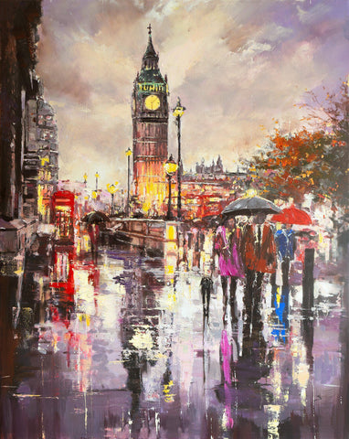 'London Lights' Original Painting on Canvas - Eva Czarniecka Umbrella Oil paintings Rain London Streets Pallets Knife Limited Edition Prints Impressionism Art Contemporary