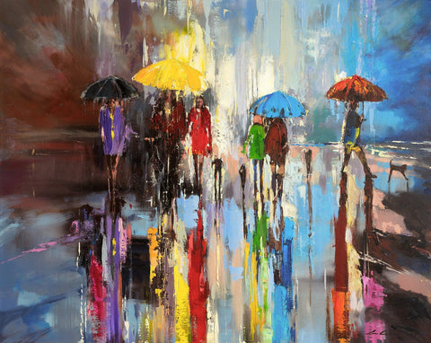 Beach Walks' Original Oil Painting on Canvas - Eva Czarniecka Umbrella Oil paintings Rain London Streets Pallets Knife Limited Edition Prints Impressionism Art Contemporary