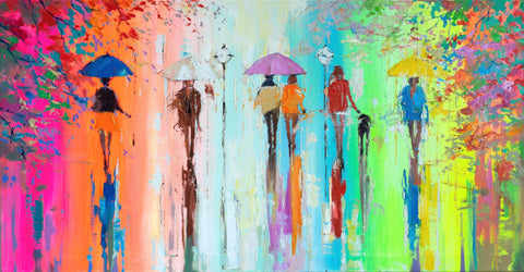 'Rain in Hyde Park' Original Painting on Canvas - Eva Czarniecka Umbrella Oil paintings Rain London Streets Pallets Knife Limited Edition Prints Impressionism Art Contemporary