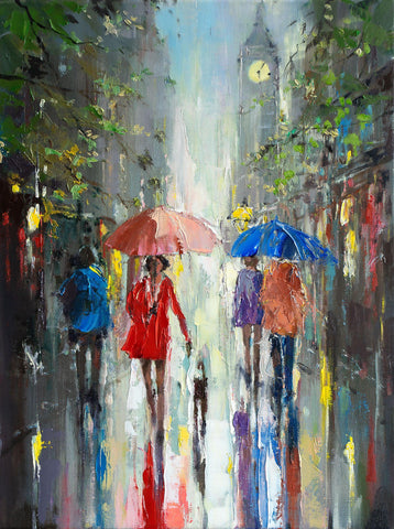 'City Life-London' Oil Painting on Canvas - Eva Czarniecka Umbrella Oil paintings Rain London Streets Pallets Knife Limited Edition Prints Impressionism Art Contemporary