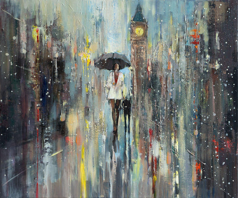'Perfect Evening' Original Oil Painting on Canvas - Eva Czarniecka Umbrella Oil paintings Rain London Streets Pallets Knife Limited Edition Prints Impressionism Art Contemporary
