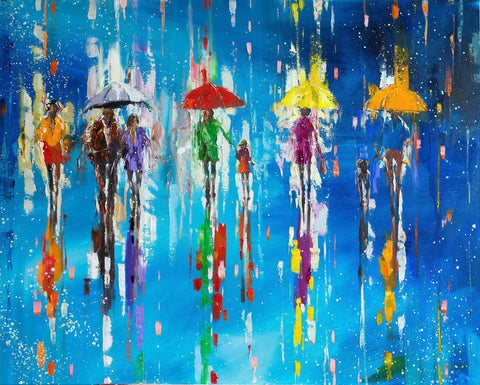 'Walk In Colour' Oil Painting on Canvas - Eva Czarniecka Umbrella Oil paintings Rain London Streets Pallets Knife Limited Edition Prints Impressionism Art Contemporary