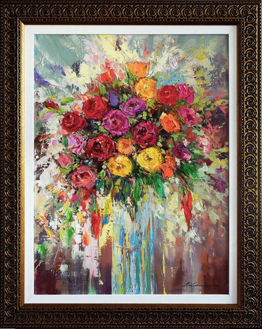 'Winter Roses' Oil Painting on Canvas Framed Ready to Hang - Eva Czarniecka Umbrella Oil paintings Rain London Streets Pallets Knife Limited Edition Prints Impressionism Art Contemporary