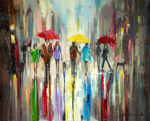 'London Walk' Oil Painting on Canvas - Eva Czarniecka Umbrella Oil paintings Rain London Streets Pallets Knife Limited Edition Prints Impressionism Art Contemporary