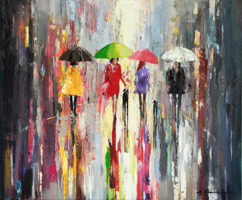 'Summer In The City Rain' Oil Painting on Canvas - Eva Czarniecka Umbrella Oil paintings Rain London Streets Pallets Knife Limited Edition Prints Impressionism Art Contemporary