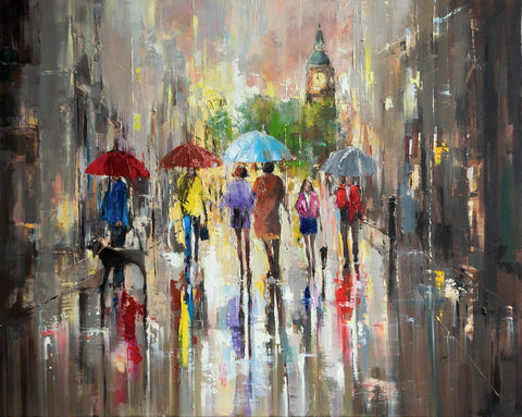 'City Walk-London' Oil Painting on Canvas - Eva Czarniecka Umbrella Oil paintings Rain London Streets Pallets Knife Limited Edition Prints Impressionism Art Contemporary