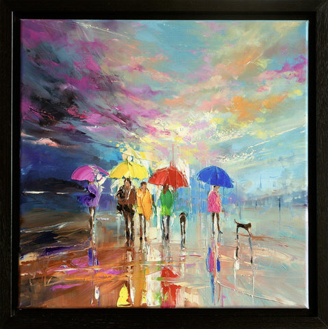 'Winter Walk'  Framed Oil Painting on Canvas Ready to Hang - Eva Czarniecka Umbrella Oil paintings Rain London Streets Pallets Knife Limited Edition Prints Impressionism Art Contemporary