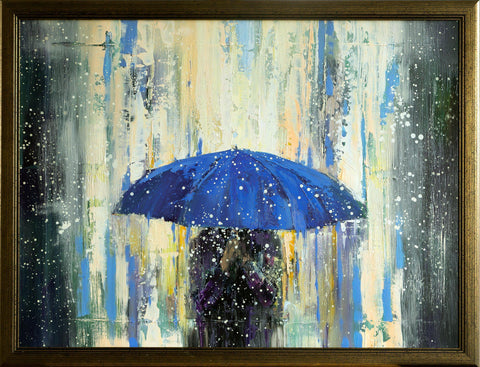'Blue Umbrella'  Framed Oil Painting Ready to Hang - Eva Czarniecka Umbrella Oil paintings Rain London Streets Pallets Knife Limited Edition Prints Impressionism Art Contemporary