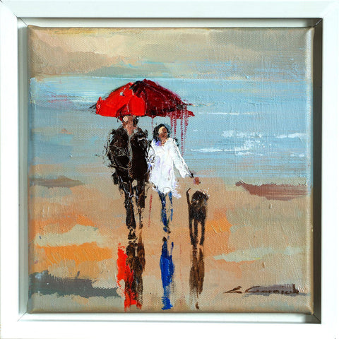 'Our Journey' Framed Oil Painting on Canvas Ready to Hang - Eva Czarniecka Umbrella Oil paintings Rain London Streets Pallets Knife Limited Edition Prints Impressionism Art Contemporary