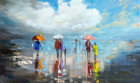 'Where The Sky Meets The Sea'  Oil Painting - Eva Czarniecka Umbrella Oil paintings Rain London Streets Pallets Knife Limited Edition Prints Impressionism Art Contemporary