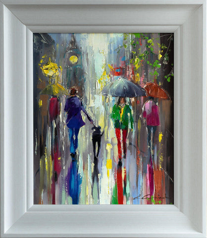 'Friday Rain' Framed Oil Painting on Canvas Ready to Hang - Eva Czarniecka Umbrella Oil paintings Rain London Streets Pallets Knife Limited Edition Prints Impressionism Art Contemporary